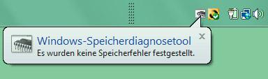Windows Speicherdiagnose Tool Ergebnis