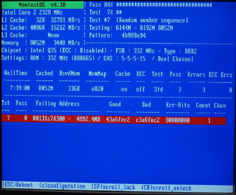 Speicherdiagnose Bildschirm